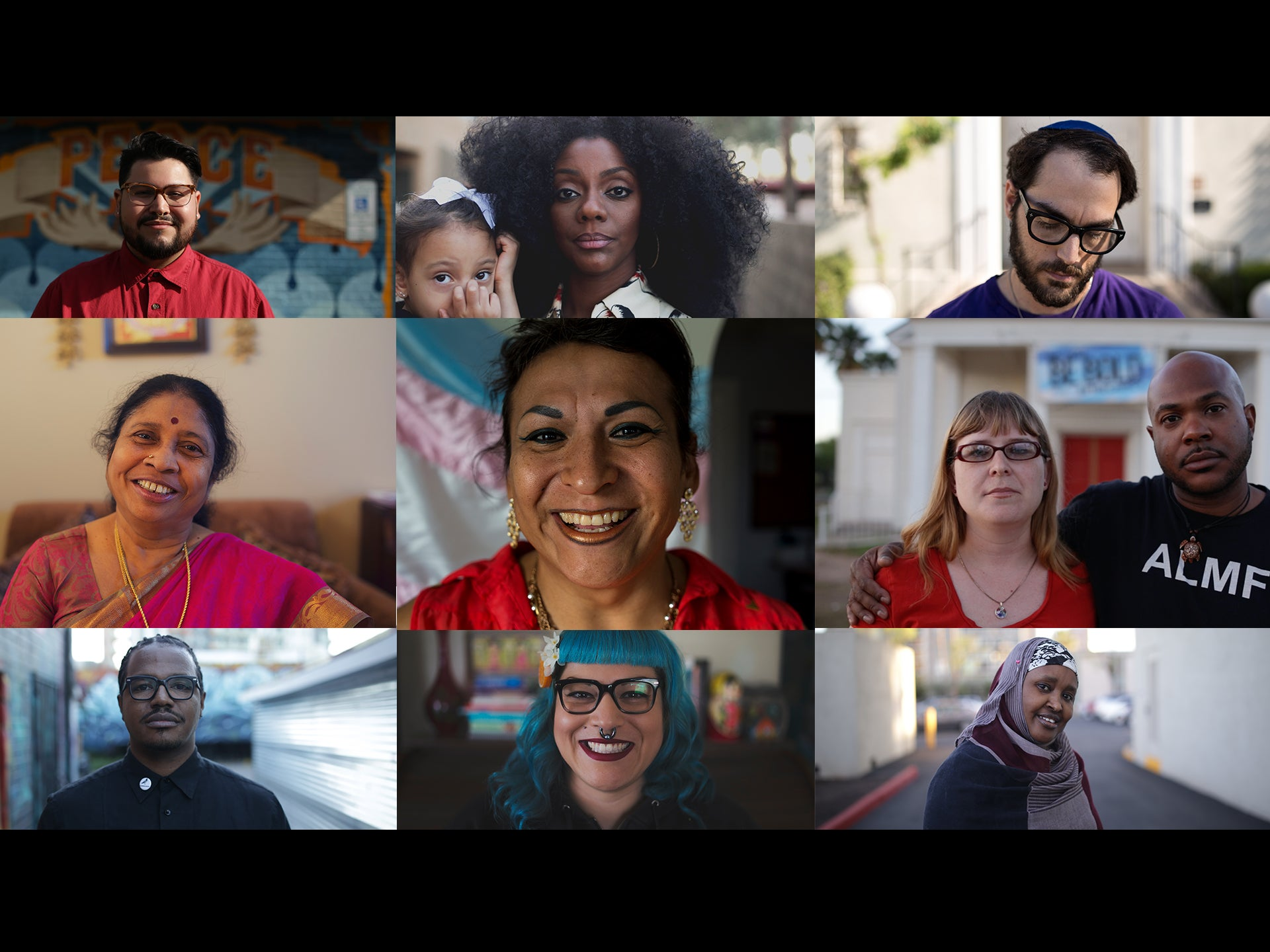 Collage of portraits of diverse people
