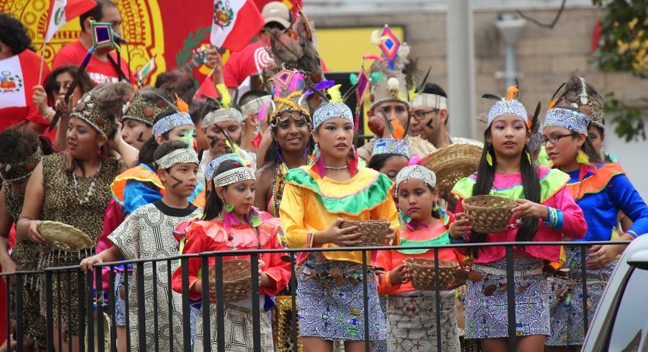 Youth celebrating the annual Desfile Peruano parade in Paterson, New Jersey