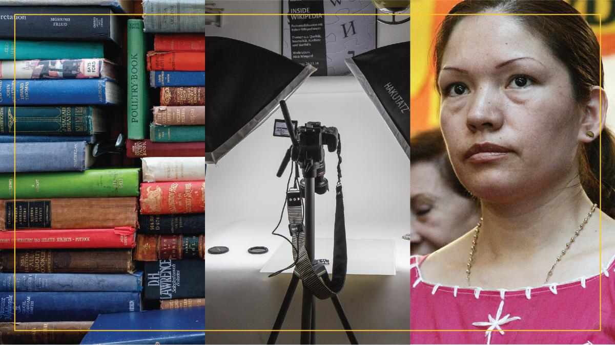 collage of stack of colorful books, image of video camera set up to film, activist Elvira Arellano