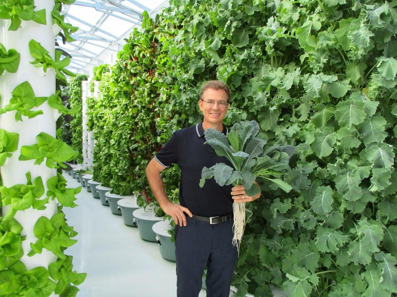 Troy Albright in True Garden greenhouse amidst vertical aeroponic technology