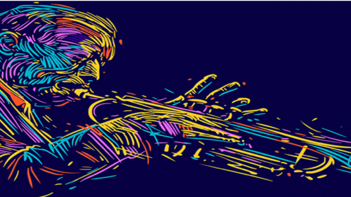 jazz trumpeter illustration