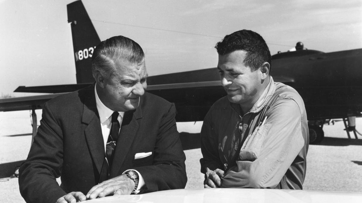 Francis Gary Powers (right) with U-2 designer Kelly Johnson in 1966.