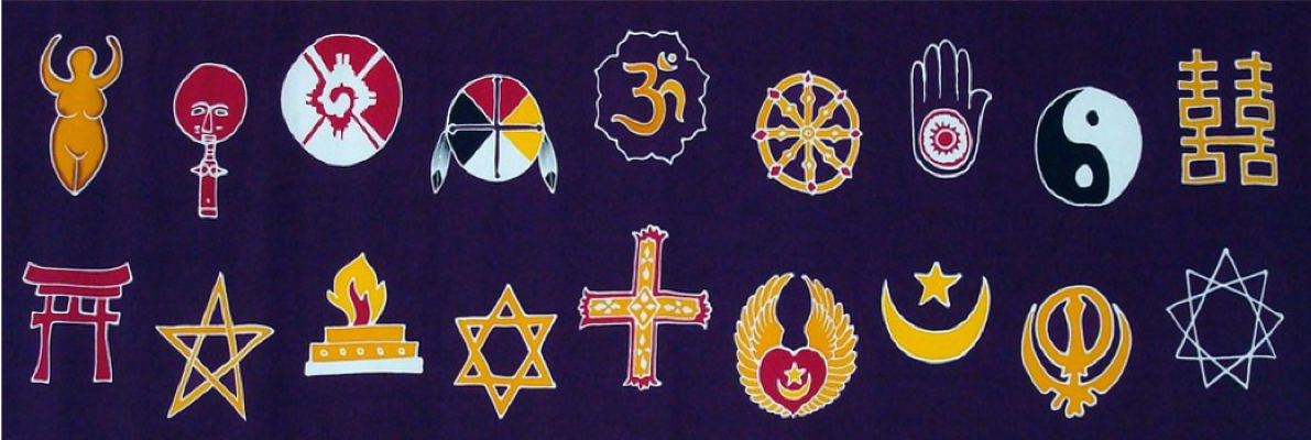 symbols representing a number of religious groups