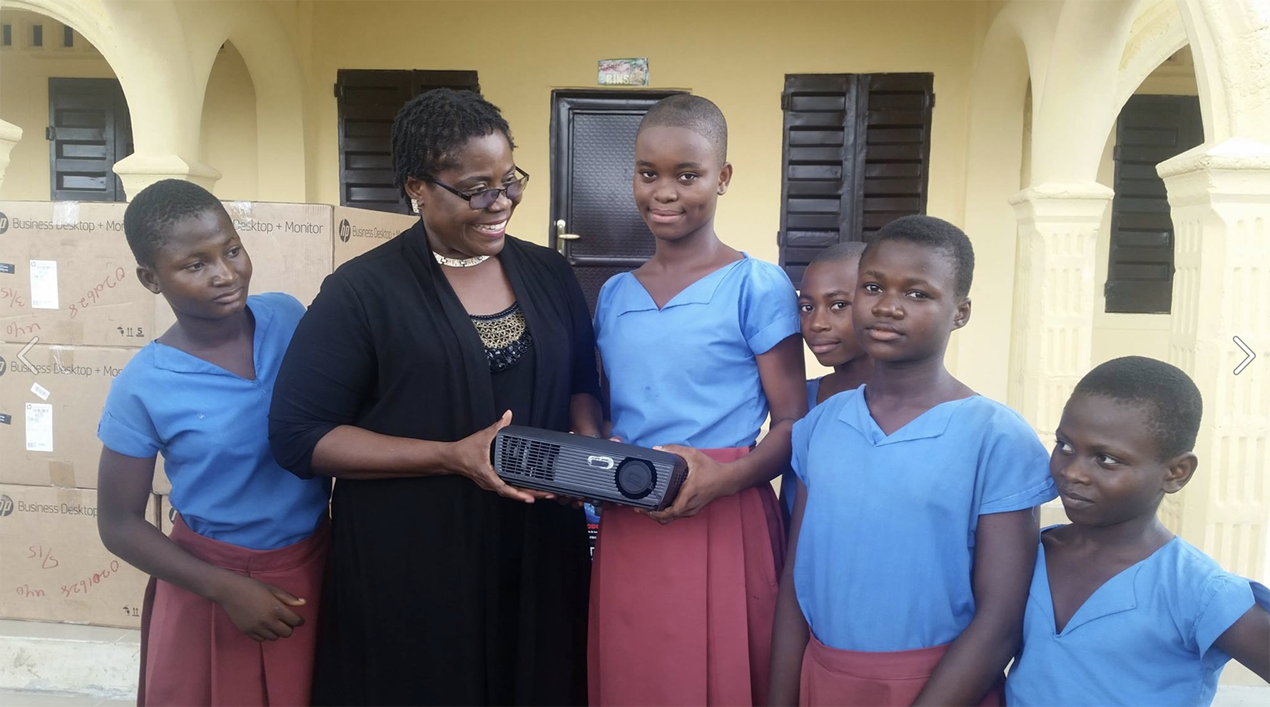 ASU Professor Patience Akpan-Obong with girls at Cornelia Connelly College, Nigeria