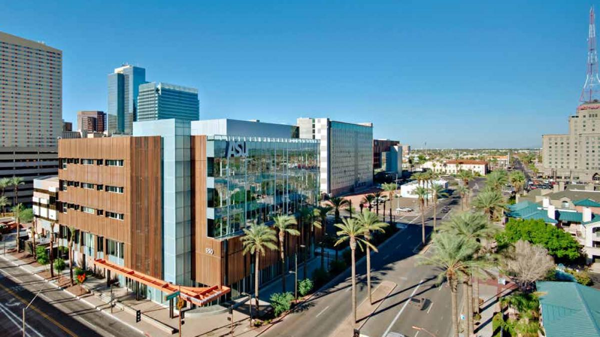Photo of ASU Downtown Phoenix campus area looking north along Central Avenue