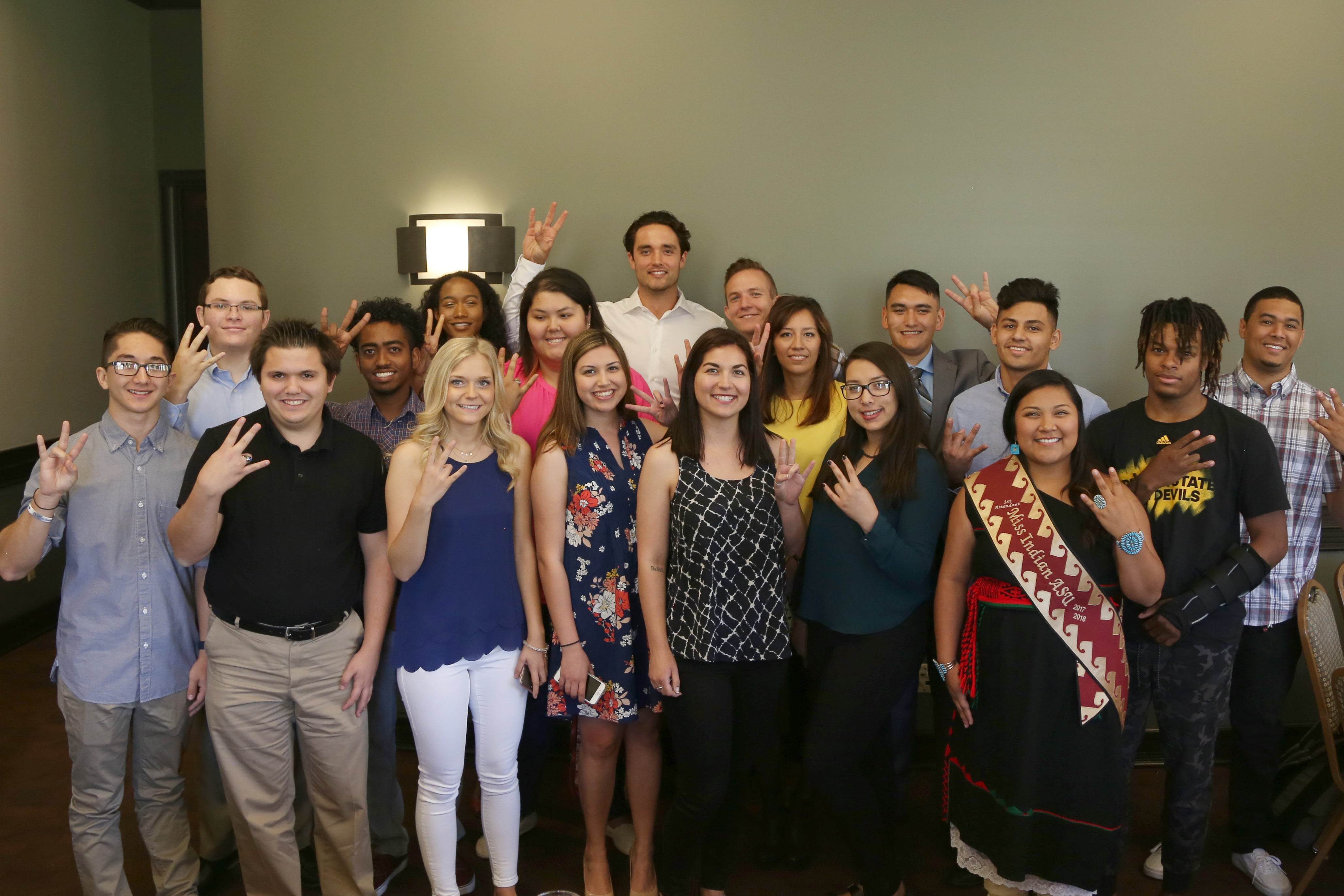 ASU College of Integrative Sciences and Arts alumnus Brock Osweiler visited with current ASU students at informal luncheon
