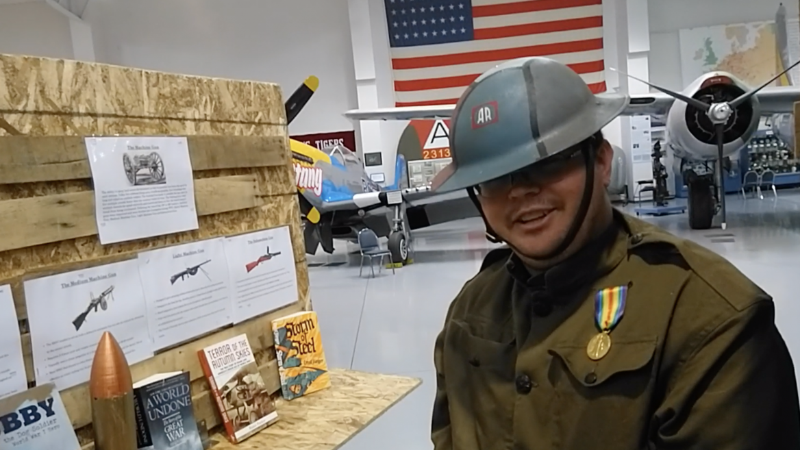 ASU history student dressed as American WWI Doughboy in Trenches