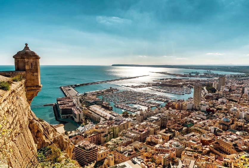 Arial view of Alicante, Spain.